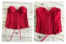 b9a5889a6fb Victoria s Secret 36B Red Polka Dot Hook Eye Lace Up Ruffle Corset Bustier  Boned