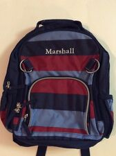 Pottery Barn Kids Small Fairfax Blue Rugby Striped Backpack Name MARSHALL New