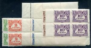 NEWFOUNDLAND J1-6 Mint NH postage due, Blocks of 4 with selvege