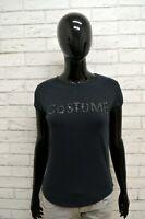 Maglia COSTUME NATIONAL Donna Taglia L Maglietta Shirt Woman Elastico Nero Slim