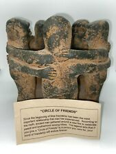 Circle of Friends Mexican Mayan Clay Pottery Folk Art Aztec Candle Holder Heavy