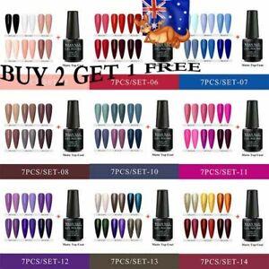 7X RBAN NAIL Glitter UV Gel Nail Polish Set Matte Top Coat Soak off Manicure AU