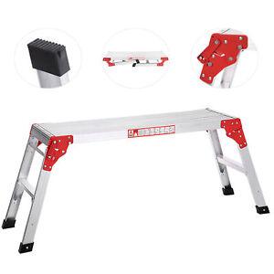 Folding Aluminum Work Platform Working Bench Step Ladder 225LB Capacity US G0G7