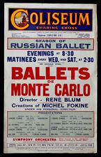 Russian BALLETS DE MONTE CARLO Vintage LONDON Poster BLUM FOKINE / Ballet Russes