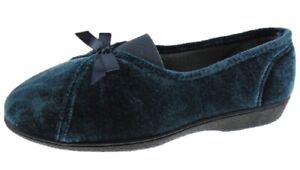 Ladies Turq Slippers Comfort Slip On Front Bow Indoor Outdoor Sole Present Sizes