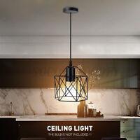 Industrial Retro Iron Tube Pendant Light Loft Bar Hanging Ceiling Lamp Fixture
