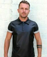 Men's Tight Polo Top Shirt in Black Lambskin Leather Look Short sleeves