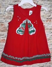 Rare Edition GIRLS 4T Red Corduroy Green Sequin Trim Christmas Tree Jumper Dress