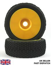 2 x Yellow Solid Wheels & Knobbly Spike Tyres 1/8th Buggy/Car RC *PRE GLUED*
