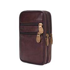 Mens Genuine Leather Waist Bag Double Zipper Bag Belt Wallet Phone Pouch Pack