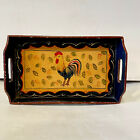 ANTIQUE TOLE TRAY Hand Painted ROOSTER HEN Toleware FOLK ART 12 X 7 5