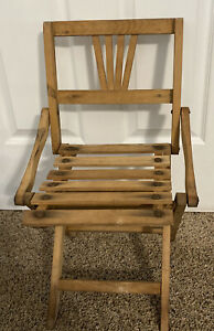 Vintage wooden folding Slatted chair childs 16-5-2