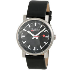 Mondaine Evo Night Vision Black Leather SS Quartz Men's Watch A660.30303.15SBB