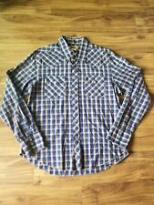 BDG Brand Western Pearl Snap Shirt L Large Blue/Gold Sparkle Lines