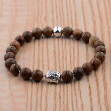 Handmade Fashion Silver Buddha Wooden Beads Elastic Bracelets Jewelry Xmas Gift