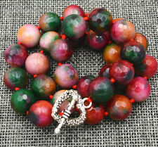 Necklace 18� Tibetan silver love clasps New 12mm Brazil faceted Multi-color jade