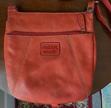 Fossil Key Per Orange Pebbled Leather Crossbody Messenger Shoulder Bag Purse