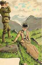Riproduzione Cartolina Donne e Moda del 1900 Austria Sosta per uno spuntino