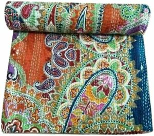 Indian Handmade Multicolor Quilt Vintage Tropicana Printed Kantha Spread Throw 4