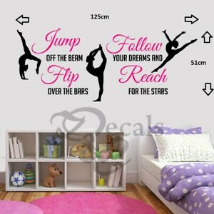 Gymnastic Dance-Girls Inspirational-Bedroom-Quote-Vinyl-Wall-Art-Sticker/Decal