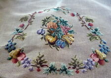 Vintage Haiawatha COMPLETED FLOWERS PETIT POINT NEEDLEPOINT CHAIR PILLOW COVER