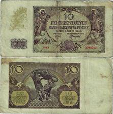 Polen Banknote 10 Złotych 1940 Ro.574a P-94 Bank Emisyjny w Polsce SEHR SELTEN