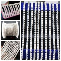 Silver Crystal Rhinestone Trimming Claw Chain Jewelry Crafts DIY 10m Close Chain