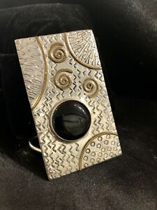 Mens Sterling Silver And Onyx Belt Buckle