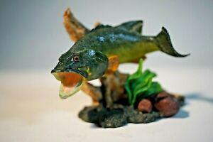 Realistic Hand-painted Big Mouth Bass Figurine NOS