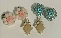 Vintage earring lot of 3 pair-clip on.-Stone and  Plastic-Rhinestone, Flower