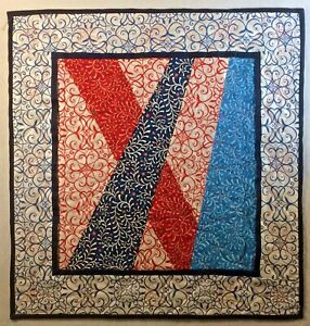"Line in the Way Art Quilt Handmade Wall Hanging 22"" x 23"" Amanda Murphy Fabric"