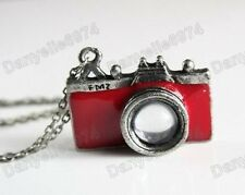 "26""long RETRO RED vintage CAMERA pendant NECKLACE cute KITSCH enamel silver tone"