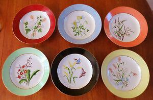 Superb Set of 6 Antique Hand Painted Porcelain Flower Bowls Signed & Dated 1881