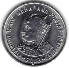 INDIA: UNCIRCULATED 2003 MAHARANA PRATAP COMMEMORATIVE 1 RUPEE, KM #314