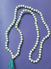 "TULSI JAPA MALA PRAYER WOOD BEAD BLUE GREEN THREAD KNOTTED ROSARY NECKLACE 36""L"