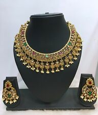 Indian Bollywood Designer Gold Plated Bridal Fashion Pearl Jewelry Necklace Set