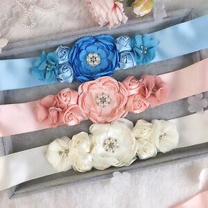 Women Satin Bow Lace Retro Flower Elastic Dress Waist Band BT