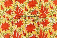 5 Yard Indian Hand Block Printed Yellow Floral Print Natural 100% Cotton Fabric