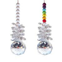 Crystal Suncatcher Handmade Glass Chandelier Prism Ball Ornament Pair Home Decor