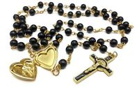 Saint Benedict Rosary Necklace Black Beads St San Benito Cross & Heart Medal
