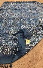 "SARI AMERTA Batik Collection Navy Blue Hand Dyed Sarong Cotton Print 59""x43"" NWT"