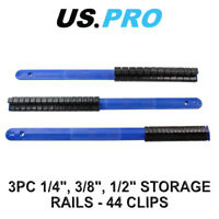 "US PRO 3 Piece 1/4"", 3/8"", 1/2"" Drive Socket Storage Rails - 44 Clips 3402"