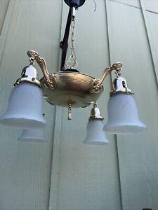 Antique Original 4 Arm Restored Pan Light Fixture W/ Glass Shades