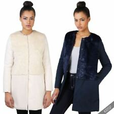 Faux Fur Viscose Casual Solid Coats & Jackets for Women