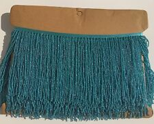 "By yard 6.5"" Aqua Blue Glass Seed Bead Beaded Fringe Lamp Lampshade Costume Trim"