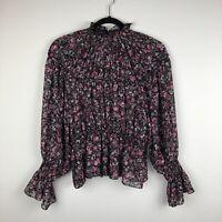 ZARA Mock Neck Tiered Ruffle Long Sleeve Floral Blouse Women's Small Regular Bal