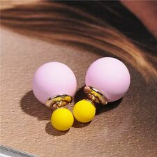 Women Fashion Candy Colored Beads Double Sided Earrings Two Ball Ear Stud