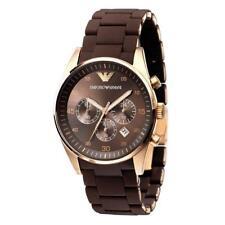 Emporio Armani AR5890 Sport Chronograph Brown Silicone Band Men's Wrist Watch