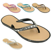 NEW Womens Rhinestone Jewel Decorated Flat Flip Flop Jelly Thong Sandals 5 to 10