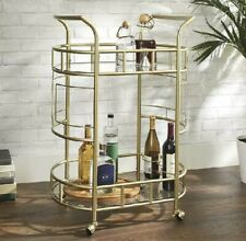 2 Tier Rolling Bar Cart Drink Serving Cocktail Wine Organizer Shelf Storage Gold
